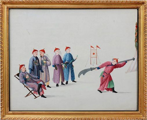A watercolor on pith painting of a candidate using a wukedao in the strength section of the Imperial Military Examination (probably in Canton) while an official sits drinking tea. Source: This image was posted by Scott M. Rodell at http://steelandcotton.tumblr.com/