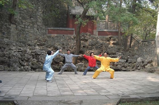 Chen style Taijiquan practitioners at the Fragrant Hills Park in Beijing, 2004.  Source: Wikimedia.