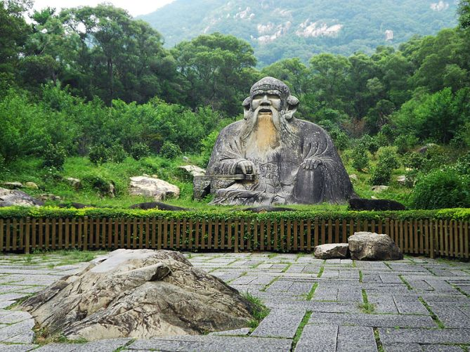 A famous statue of Laozi in Fujian.  Source: Wikimedia.