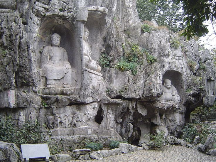 Grotto at the Lingyin Temple.  Source: Wikimedia.