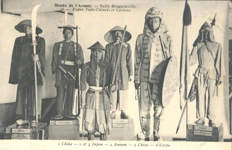 A vintage french postcard showing military uniforms from various Asian countries. Source: Author's personal collection.