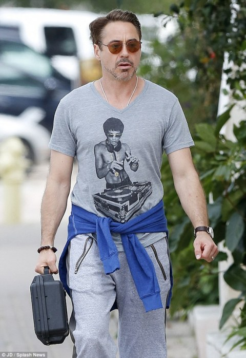 Robert Downey Jr. sporting a Bruce Lee inspired look.  Source: Daily Mail Online.