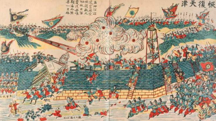 A Chinese woodblock print showing the recapture of Tainjin during the Boxer Uprising.  Source: Wikimedia.