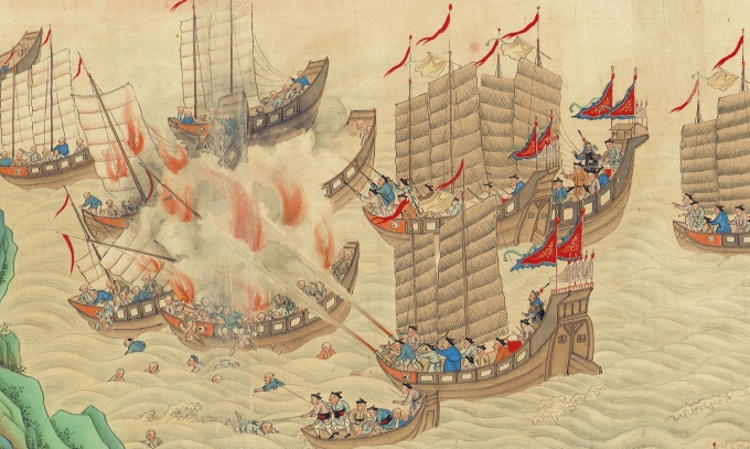 "A small section of the 18 meter long scroll ""Pacifying the South China Sea.""  This work was commissioned to commemorate the end of the early 19th century piracy crisis.  Source: Hong Kong Maritime Museum."