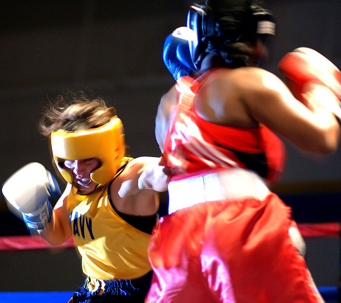 Triva Pino (Left).  The 2006 US Armed Forced Female Boxing Champion.  Source: Wikimedia.