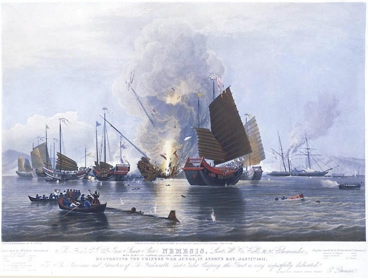 Chinese and British ships engaged in battle.  Source: Wikimedia.
