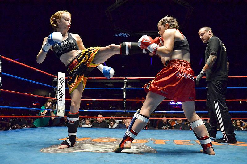 Womens Muay Thai Kickboxing match.  Source: Wikimedia.