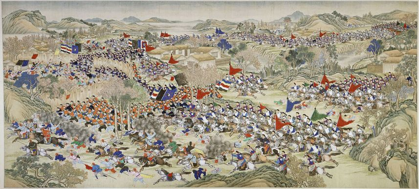 A scene of the Nien Rebellion (1851-1868). Probably represents the Battle of Inlon River,1867.  Source: Wikimedia.