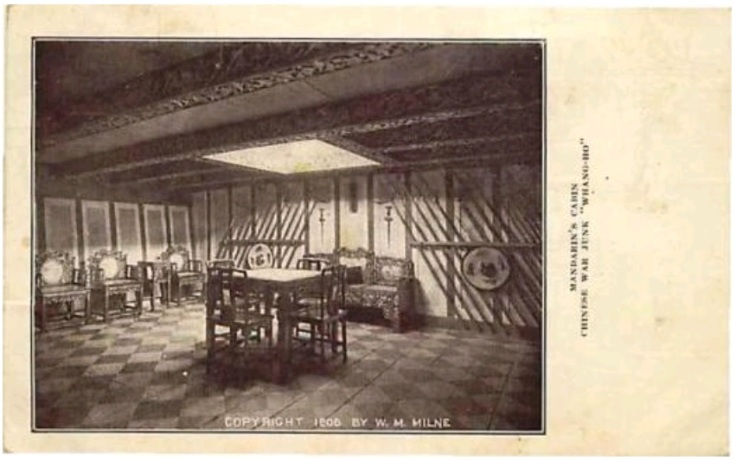 Another postcard of the Whang Ho displaying antique furniture and weapons.  Source: Author's Personal Collection.