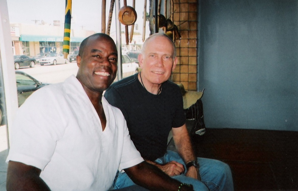 Earl White, chief instructor, Ijo Ija Academy (left), and author (right),  Capoeira Batuque, Los Angeles, CA, 2008.  Source: http://abcclio.blogspot.com/2010/08/author-guest-post-thomas-green-on.html