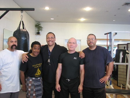 Left to right Gurus Tony Valdez, James Leach, Maha Guru Clifford Stewart, Green, Guru Thomas Lomax,  Los Angeles, CA.  Source: Personal Collection of Prof. Thomas Green.