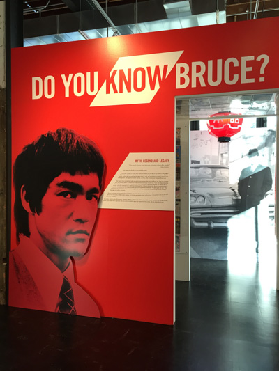 """Do you know Bruce?"" The entrance to the new Bruce Lee exhibit at the Wing Museum.  Source: The International Examiner."