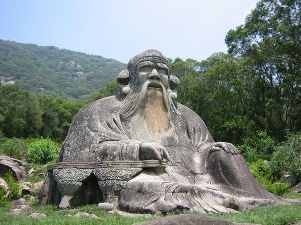 A stone sculpture of Laozi, located north of Quanzhou at the foot of Mount Qingyuan.  Another figure who came to be venerated by the Red Spear Movement.  Source: Wikimedia.