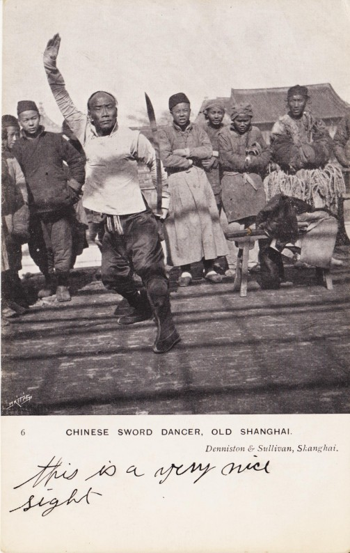 A Vintage Postcard showing a Shanghai Sword Juggler.  Source: Author's Personal Collection.