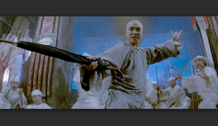 Jet Li as Wong Fei Hung with his trademark umbrella.