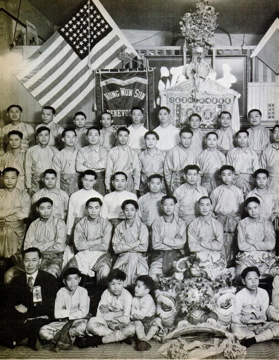 Ark Yuey Wong (seated behind the Lion Head) as an assistant instructor