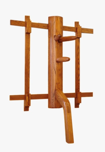 A space saving wall mounted wooden dummy.  Source: everythingwingchun.com