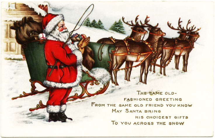 Vintage Christmas Postcard.  Public Domain
