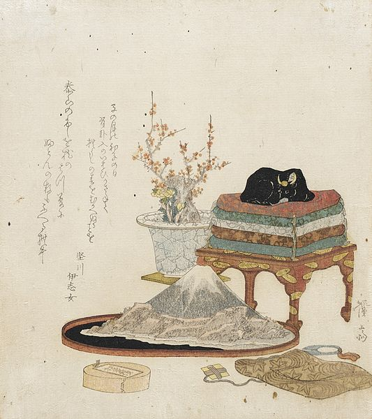 A Japanese painting showing how a viewing stone might be appreciated in comjunction with other art objects including a flowing bonsai.  Source: Wikimedia.