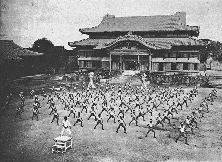 """Karate training at Shuri Castle."" from  ""空手道大観"" (A Broad View of Karatedo), 1938.  Source: Wikimedia."