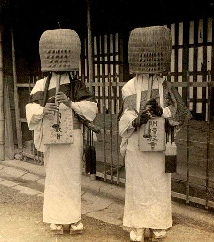"A pair of Japanese Komuso or ""Monks of Emptiness.""  Original Source: Unknown."