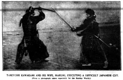 Taneyoshi Kawakami and his wife Marumi practice kenjutsu. From the New York World, May 30, 1897.  Source: Martial Arts New York.