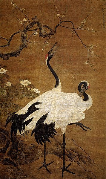"""Snow Plum and Twin Cranes"" by Bian Jingzhao, early Ming.  Painting."