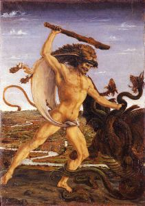 Hercules and the Hydra (ca. 1475) by Antonio del Pollaiuolo.  Source: Wikimedia.