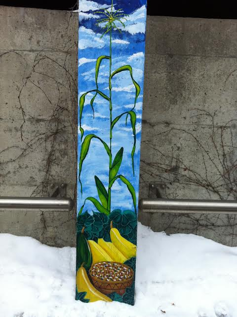"""An additional detail of from the same installation of murals.  This one shows the """"Three Sisters"""" (corn, beans and squash) which were the staples of traditional Iroquois horticulture.  Such planting strategies have recently become popular again with some local gardeners.  Photo by Benjamin Judkins."""