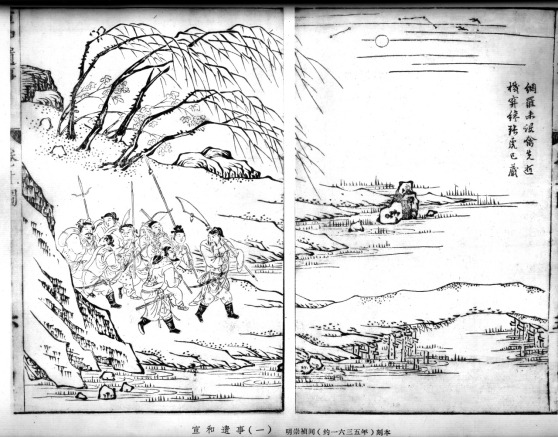 Ming era print (1635) showing individuals with assorted weapons.  Source: Steel & Cotton.