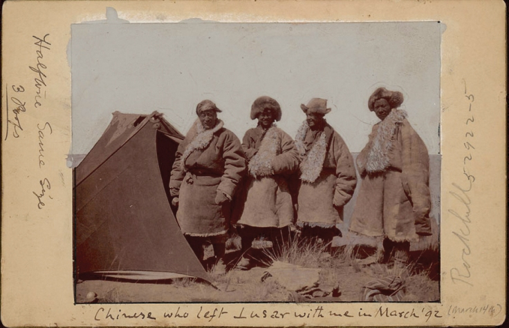 Rockhill and his Chinese companions during the 1891-1892 expedition.   Source:  All of Rockhills papers, notes and collections are housed in the anthropology collections of the Smithsonian.