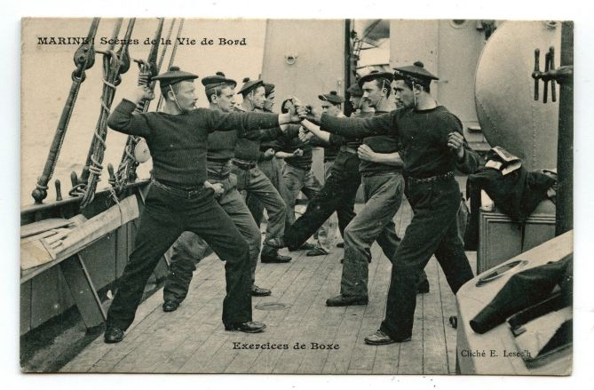 French Boxing aboard a ship.  Vintage postcard.  Source: Author's Personal Collection.