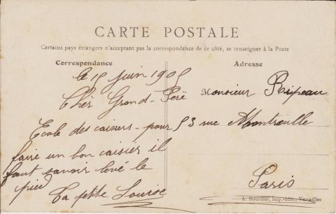 The back of the previous postcard.  Source: Author's personal collection.