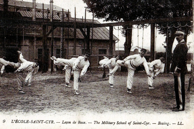 Another vintage postcard showing French Boxing instruction in a military setting.  Source: Wikimedia.