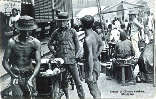 Chinese vendors selling street food and tea in Singapore circa 1900.  Source: vintage postcard.