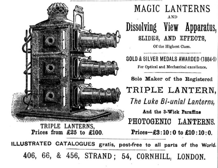 An advertisement for an elaborate magic lantern slide projector.  Source: Wikimedia (public domain).