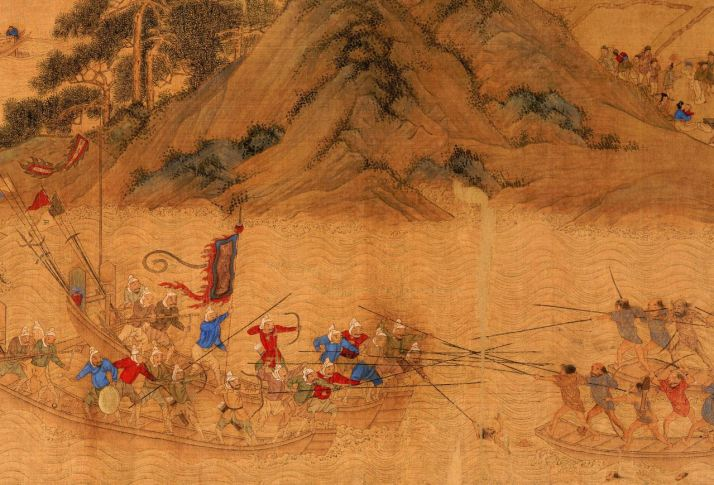 A painting showing a naval battle between Chinese forces and Woku Pirates.  Source: zhongguowuxue.wordpress.com