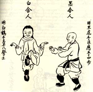 An image from the southern Chinese martial arts manuscript collection known in Japan and Okinawa as the Bubishi.