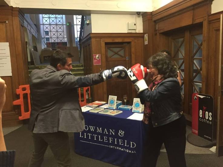 Paul Bowman and Meaghan Morris having a frank exchange of ideas.  Source: http://martialartsstudies.blogspot.com/2015/06/conference-2015-and-2016.html