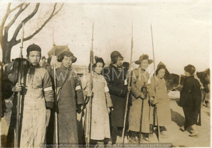 Chinese fighters with spears.  Northern China, 1930s.  Original photographer unkown.  Source:  The private album of a Japanese soldier.