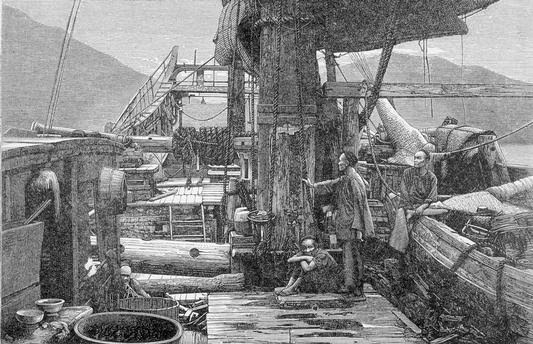 Another 19th century European engraving showing a Windlass on the deck of a Chinese ship.