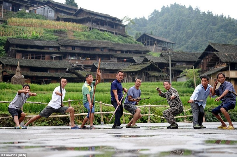Residents of Ganxi Dong village demonstrating their martial arts skills. Source: http://www.dailymail.co.uk