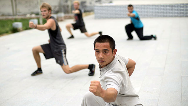 Students practice the traditional Chinese Martial Arts in Qufu, Shandong Province.