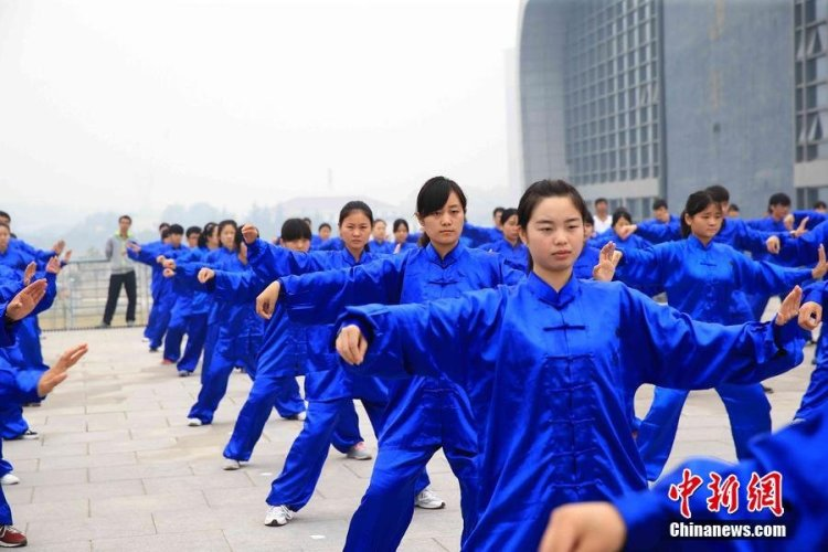 The recent attempt to set a record for the largest martial arts demonstration, Photo: China News Service / CFP