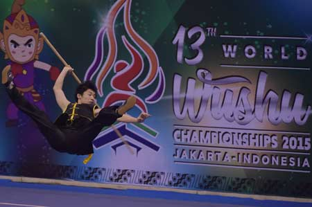 A scene from the 13th World Wushu Championship in Jakarta. Source: AFP.