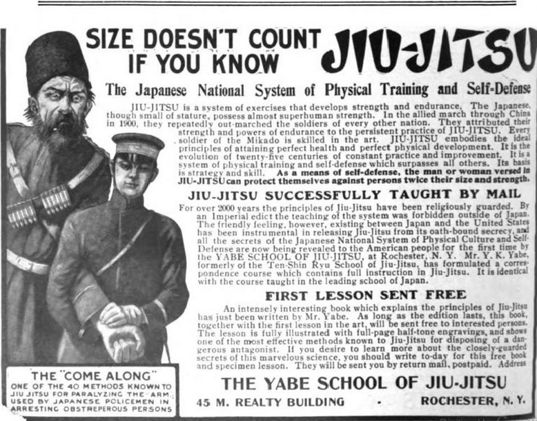 An advertisement for the Yabe School of Jiu-Jitsu in the July 1905 edition of the Buisness and Bookeeper Magazine. Note the not to subtle reeference to Japan's recent victory over Russia and its relevance to hand combat.