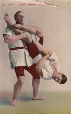 Vintage Postcard. Yukio Tani demonstrating a flying armbar on William Bankier c.1906. Source: Wikimedia.