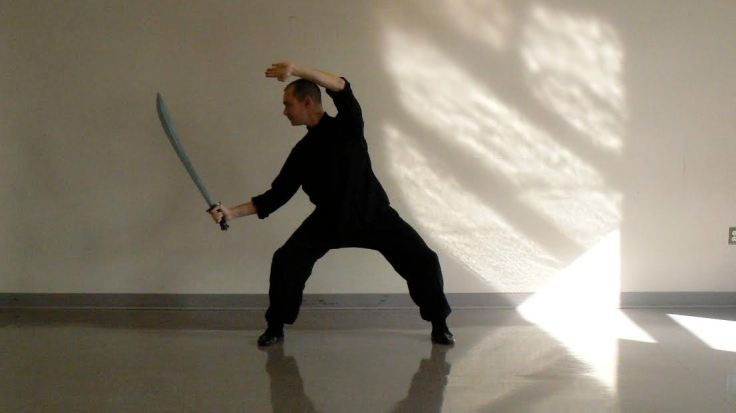 "Daniel Mroz playing Choy Li Fut's Muy Fa Do ""Plum Flower Sabre"" form. Photo by Laura Aztwood."