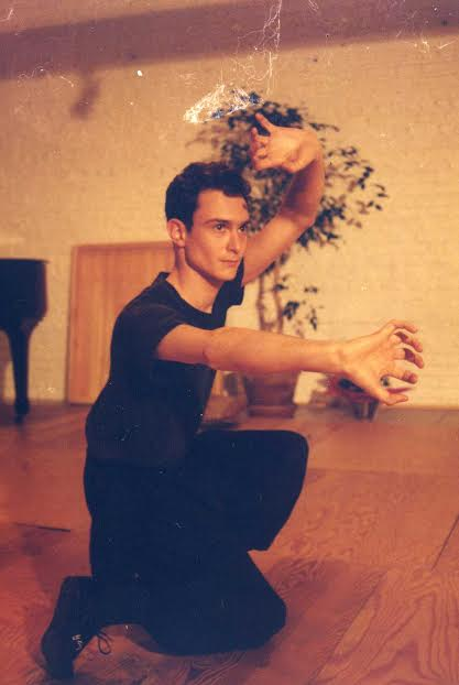 """Daniel Mroz playing Choy Li Fut's Ke Lung Ma or """"Dragon Riding Stance"""" in Brussels, Belgium in the 1990s. Photo by Satyanarayanan Nair."""