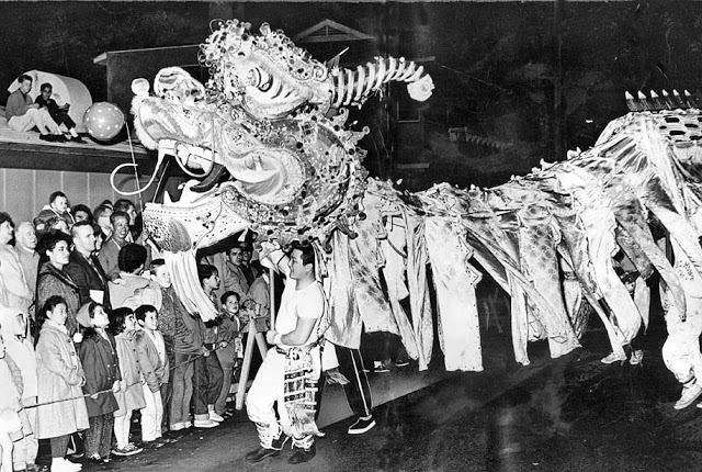 Feb. 1, 1963: Dragon, manipulated by 40 men, takes part in Chinese New Year parade for the Year of the Rabbit in New Chinatown.